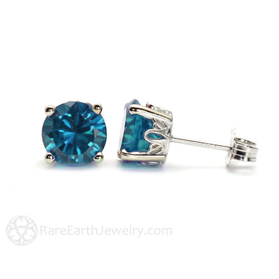 London Blue Topaz Earrings Round Studs in 14K Gold Floral Post Settings