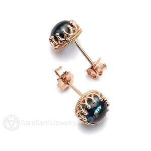 Rare Earth Jewelry London Blue Topaz Earrings 14K Gold Crown Settings