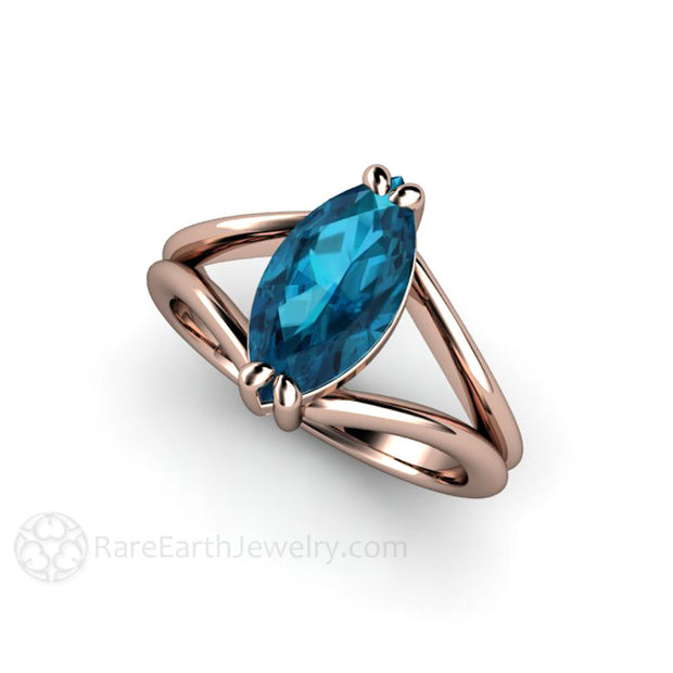 Marquise London Blue Topaz Solitaire Engagement Ring 14K Rose Gold Rare Earth Jewelry