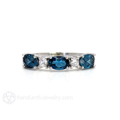 Rare Earth Jewelry London Blue Topaz Ring East West Anniversary Band with Diamonds December Birthstone