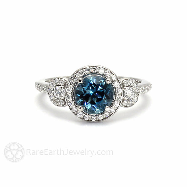 London Blue Topaz Ring 3 Stone Diamond Halo Blue Topaz Engagement Ring