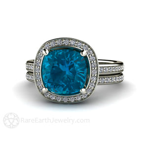 Rare Earth Jewelry Cushion London Blue Topaz Halo Wedding Set Engagement Ring