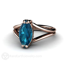 Rare Earth Jewelry London Blue Topaz Marquise Solitaire Ring Split Shank