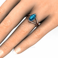 Marquise London Blue Topaz Ring on Finger Rare Earth Jewelry