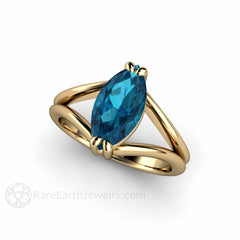 14K London Blue Topaz Solitaire Ring December Birthstone Rare Earth Jewelry