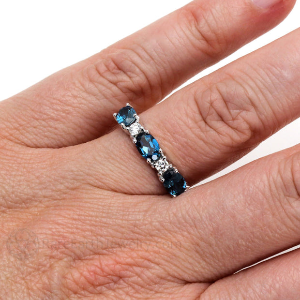 Rare Earth Jewelry Oval London Blue Topaz Right Hand Ring on Finger 14K Gold
