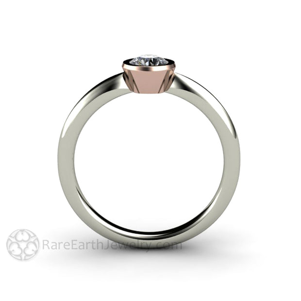 Low Profile Small Diamond Ring Active Lifestyle Simple Minimalist Design 14K Rare Earth Jewelry