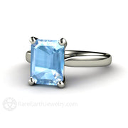 14K Emerald Cut Natural Aquamarine Solitaire Ring Rare Earth Jewelry