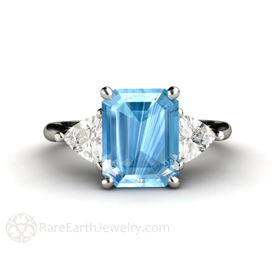 Rare Earth Jewelry Aquamarine Ring 3 Stone with Trillion White Sapphires March Birthstone