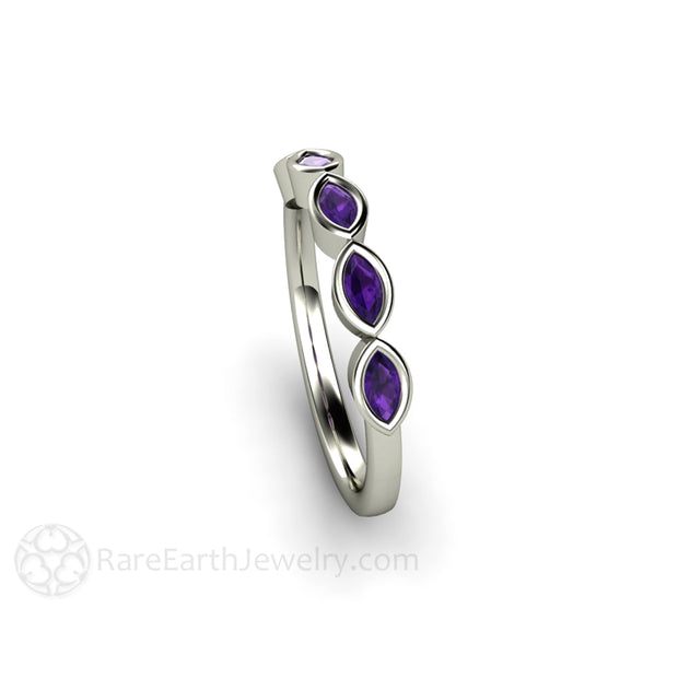 Marquise Cut Amethyst Band in 18K White Gold