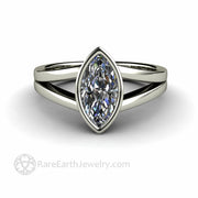 Marquise Moissanite Solitaire Ring Bezel Setting with Split Shank