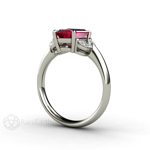 Rare Earth Jewelry Emerald Cut Ruby Ring with Marquise Diamond Side Stones