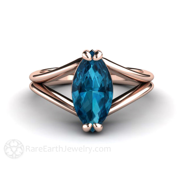 London Blue Topaz Right Hand or Cocktail Ring Marquise Cut Rare Earth Jewelry