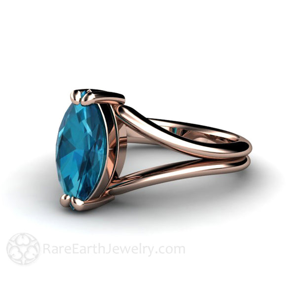 Split Shank Marquise Blue Topaz Solitaire Ring 14K Rose Gold Rare Earth Jewelry