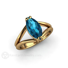 Marquise Solitaire Blue Topaz Ring 18K Yellow Gold Wedding Anniversary Ring