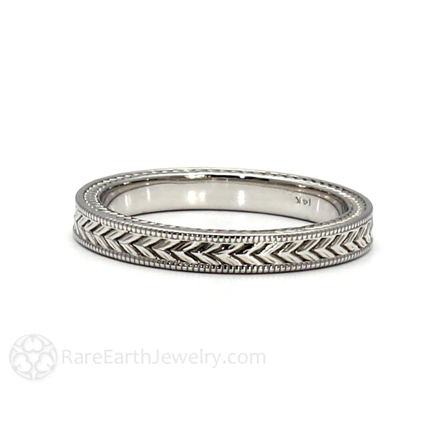 Art Nouveau Style Anniversary Ring Wheat Pattern Platinum Band Rare Earth Jewelry