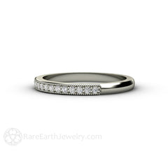 Classic Milgrain Diamond Wedding Band White Gold