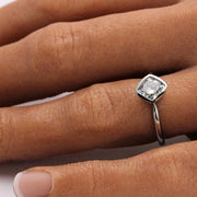 Minimalist Style Jewelry Square Cushion Cut Lab Created Diamond Forever One Moissanite Hand Photo