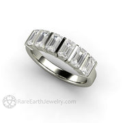 14K White Gold Six Stone Band Bar Setting with Emerald Cut Forever One Moissanite
