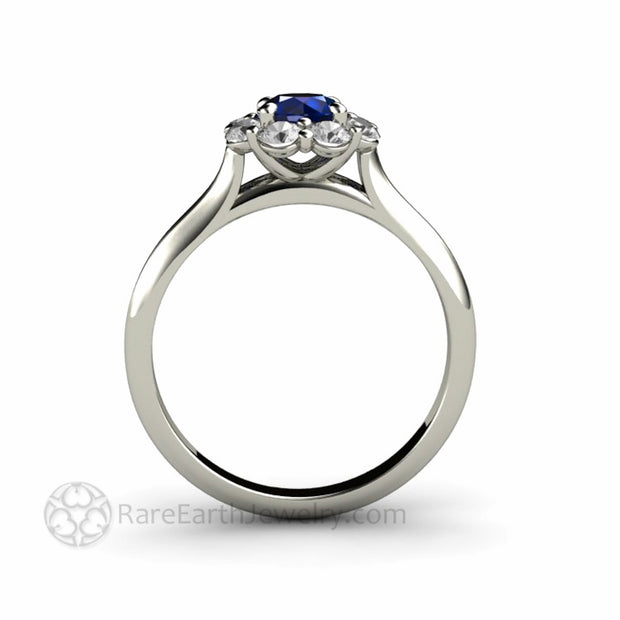 Modern Blue Sapphire Flower Ring Unique Engagement Ring Contemporary Cluster Design by Rare Earth Jewelry