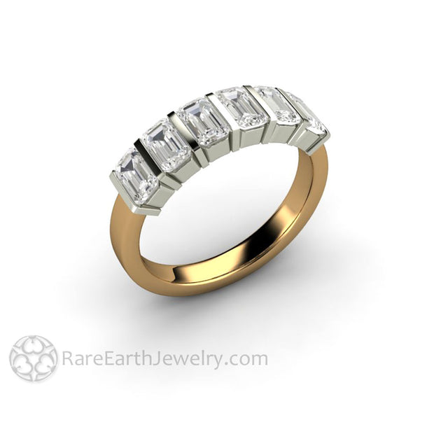 Two Tone Gold Moissanite Ring with Emerald Cut Forever One Moissanite
