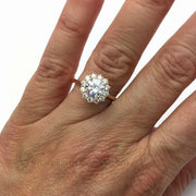Moissanite Cluster Style Engagement Ring 7mm Round Colorless Vintage Inspired Halo Hand Photo