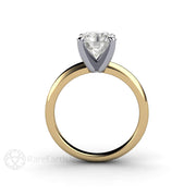 Moissanite Engagement Ring Round Cut Forever One Solitaire Platinum 4 Prong Setting 14K Gold Rare Earth Jewelry