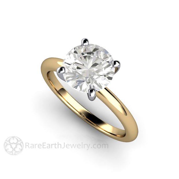 Moissanite Solitaire Wedding Ring Prong Platinum Head Two Tone Gold Setting 2 Carat Round Cut Forever One Rare Earth Jewelry