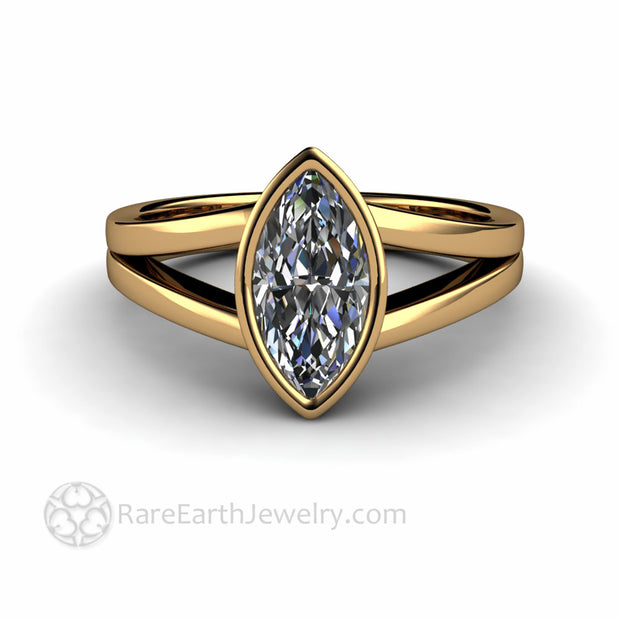 Moissanite in 18K yellow gold Marquise Solitaire Ring with Two Bands