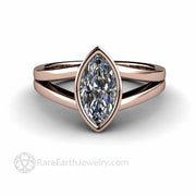 Moissanite ring in rose gold simple engagement ring lab grown Charles and Colvard
