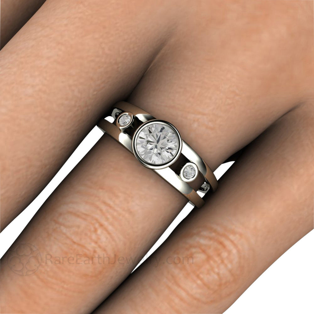 Round Cut Three Stone Forever One Moissanite Right Hand Ring On Finger Rare  Earth Jewelry