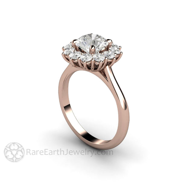 Rare Earth Jewelry Moissante Engagement Ring Colorless Halo Rose Gold Cluster Vintage Antique Design