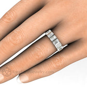 Emerald Cut Moissanite Band Photo on the Hand