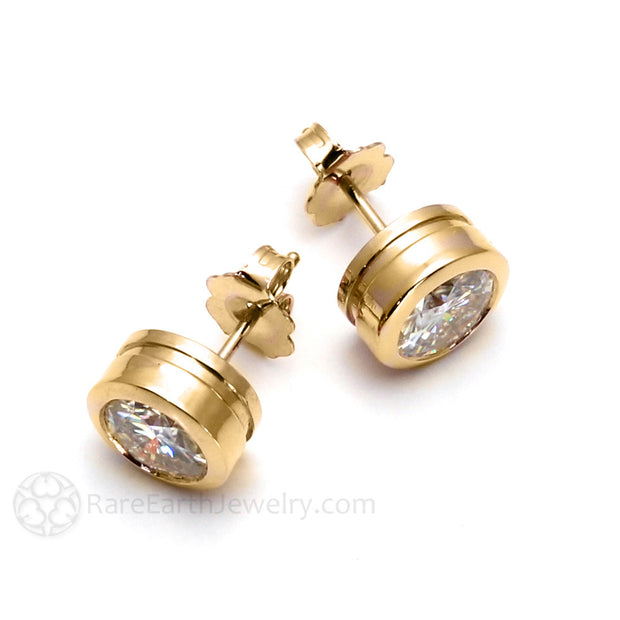Rare Earth Jewelry Moissanite Bridal Earrings 14K Yellow Gold Post Studs Classic Bezel Setting