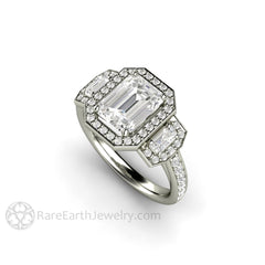 Rare Earth Jewelry Moissanite Wedding Ring Emerald Cut Forever One Diamond Halo Accent Stones Platinum Setting