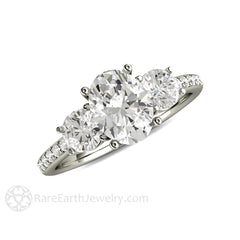 Oval 3 Stone Moissanite Wedding Ring with Diamonds Rare Earth Jewelry