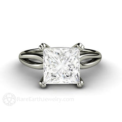 Rare Earth Jewelry Square Moissanite Engagement Ring Split Shank Solitaire