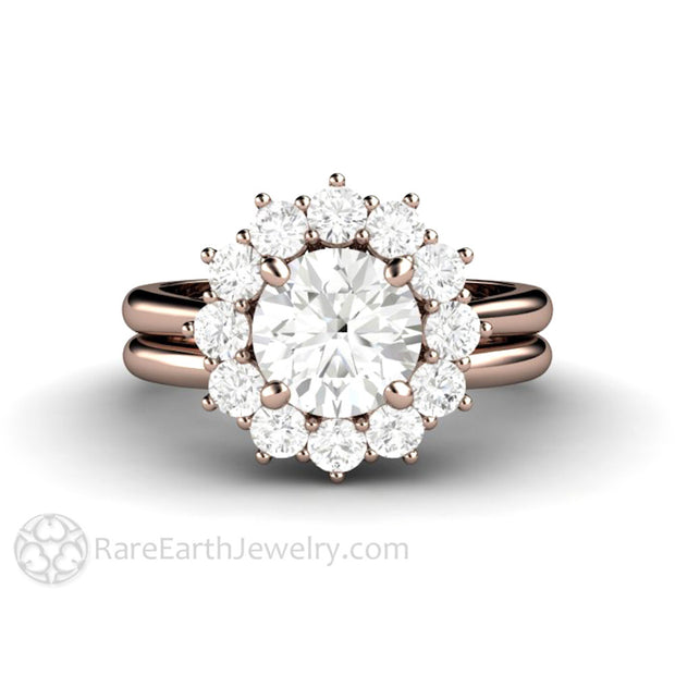 Rare Earth Jewelry Rose Gold Bridal Set 1.25 Carat Colorless Round Cut Moissanite Engagement 14K Plain Gold Wedding Band