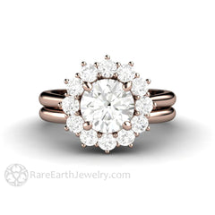 Rare Earth Jewelry Round Cut Moissanite Wedding Ring Set 14K Rose Gold Plain Gold Bridal Band
