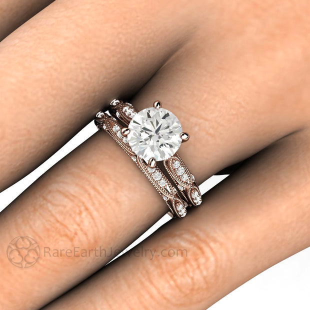 Rare Earth Jewelry Rose Gold Wedding Bridal Set 7.5mm Round Cut Colorless Moissanite Solitaire Engagement Ring on Finger