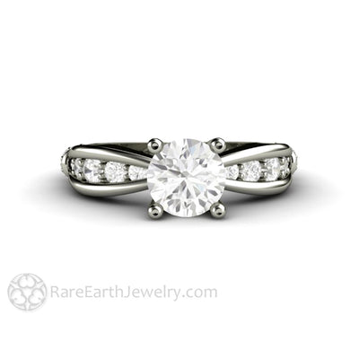 Rare Earth Jewelry Solitaire Engagement Ring Forever One Round Moissanite with Diamond Accents