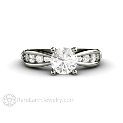 Euro Shank Forever One Moissanite Solitaire Engagement Ring