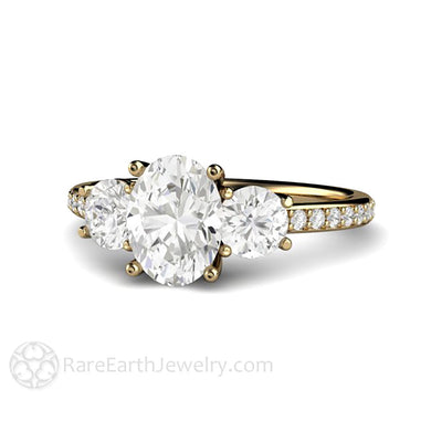 Rare Earth Jewelry Moissanite Engagement Ring Oval 3 Stone