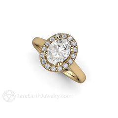 14K Moissanite Halo Engagement Ring Plain Band Rare Earth Jewelry