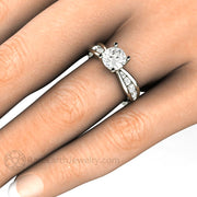 Forever One Moissanite Solitaire Engagement Ring on Finger Round 1ct Euro Shank Rare Earth Jewelry