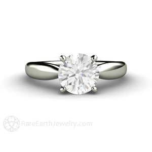 Rare Earth Jewelry Forever One Moissanite Engagement Ring Classic Plain Band 4 Prong Solitaire