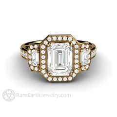 Rare Earth Jewelry 18K Gold Emerald Cut Forever One Moissanite Ring Diamond Halo 3 Stone Setting