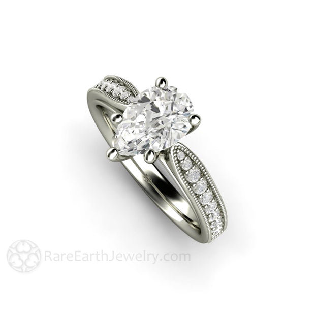 Rare Earth Jewelry Vintage Style 14K White Gold Pear Moissanite Ring with Diamond Accent Stones and Milgrain Detailing
