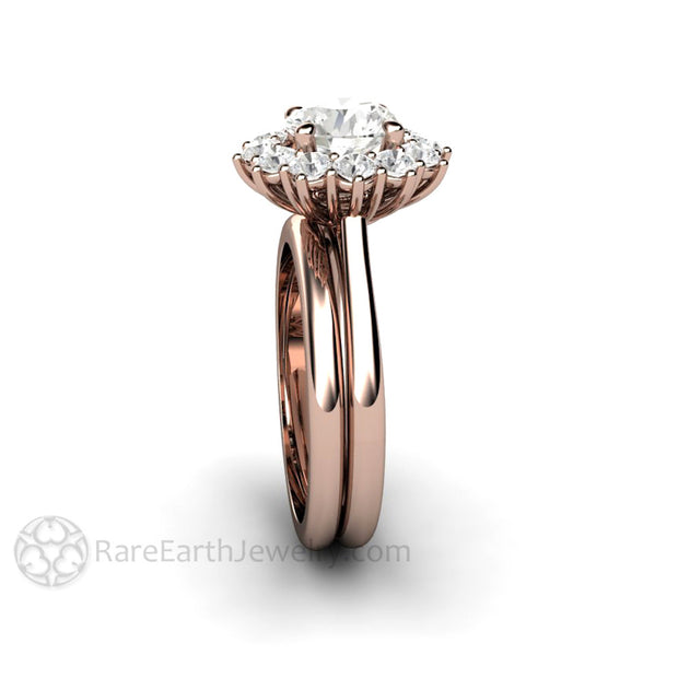 Rare Earth Jewelry Colorless Forever One Moissanite Bridal Set 7mm Round Rose Gold Halo Setting