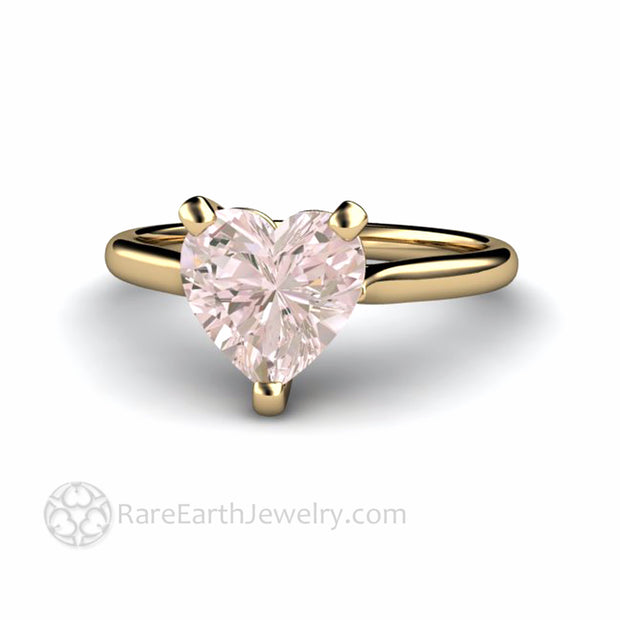 Morganite Heart Solitaire Ring in 14K Yellow Gold by Rare Earth Jewelry